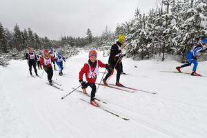 Sidor Nordling från Idrottsklubben Stern i Torslanda drar före mamma Karin Nordling.
