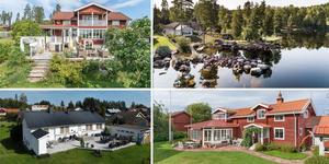 Ett montage med några av de hus som finns med på Klicktoppen för vecka 37, sett till de hus i Dalarna som fått flest klick på bostadssajten Hemnet under förra veckan.
