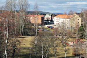 Mer utsikt från relaxavdelningens altan högst upp i huset. Här ser vi Öjeparken och centrala Edsbyn.