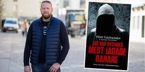Södertäljebon Toni Tuunainen och hans färska bok där han berättar om sitt liv som kriminell. Foto: Peter Johansson och Lind & Co