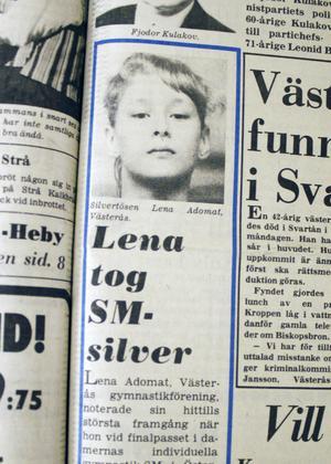Från VLT:s förstasida den 16 juli 1978. Lena Adomat, då 14 år, vann SM-silver 1978. Två år senare var hon med i OS.
