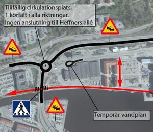 En översiktsbild över förändringar i samband med ombyggnaden av Skepparplatsen. Det markerade övergångsstället visar övergången mot Norra kajen. Bild: Trafikverket