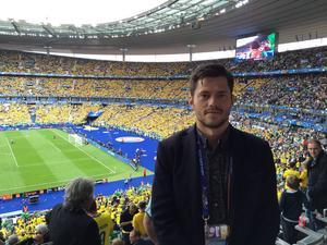 Oskar Lund på Stade de France under Sverige-Irland.