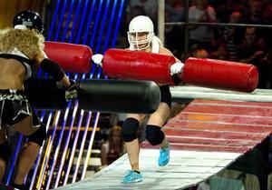 Malin Sjökvist från Sundsvall utmanade Gladiatorerna för ett år sedan, när tv-programmet spelades in i Nordichallen.