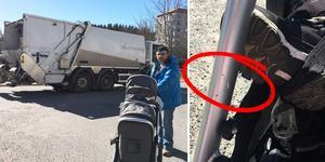 Alldeles vid tvååringens fot hakade sopbilen fast i barnvagnen med starka krafter som avsatte ett tydligt märke i metallen. Bilden är ett montage.