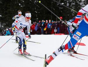 Petter Engdahl under världscupdebuten på femmilen i Holmenkollen. Foto: Terje Bendiksby/NTB scanpix /TT
