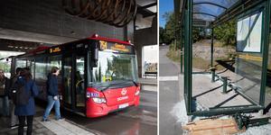 Buss 754 mot Geneta och en krossad busskur i Ronna. Nu ska tryggheten öka i kollektivtrafiken menar SL. Foto: Monika Nilsson Lysell /  Johan Järup