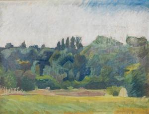 Franskt landskap av Ivan Aguéli från 1913. Gåva från Prins Eugen till Sala stad 1925. Foto: Aguélimuseet