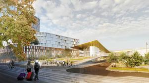 Bjarke Ingels Groups förslag för ett nytt stationsområde i Västerås. Illustration: Bjarke Ingels Group