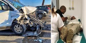 Rockbandet Sabaton från Falun råkade ut för en trafikolycka i Tunisien. Foto: Privat