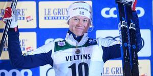 Maja Dahlqvist efter att ha tagit en pallplats under världscupen i Ruka.