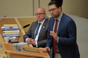 Riksdagens andra vice talman Björn Söder (SD) och partiledaren Jimmie Åkesson (SD). Foto: Jessica Gow/TT