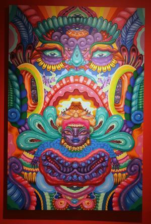 Inspirationen från indiankultur och mytologi är tydlig i denna målning av Amara Por Dios.