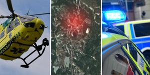 Mannen lastades av ambulanshelikopter och fördes till sjukhus med oklara skador. Foto: Nisse Schmidt, Stina Stjernkvist/TT