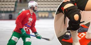 Jesper Jonsson tränar just nu med ett tillfälligt knäskydd. Nästa vecka ska det bytas ut mot en nytt, större skydd som ska förhindra översträckning av knät.