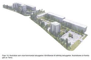 Skiss över hur placeringen av tre punkthus kan se ut på Vinddragets parkering. Illustration: Tema arkitekter