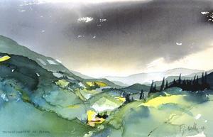"""Oväder. Ett åskväder drar in över de toscanska kullarna i Peter Kautzkys """"Toscanskt landskap vid Rufina""""."""