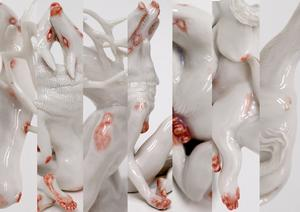 Ett bildcollage av några av Amanda Kroons porslinsskulpturer på Konstfacks utställning. Pressbild