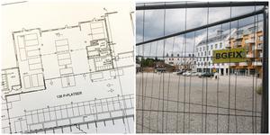 Slättö har ritat in 136 p-platser i stället för butiker på markplan i de tre hus som ska byggas på den stora grusplanen i Nykvarns centrum. Illustration: Reflex arkitekter / Bild: Mathias Jonsson