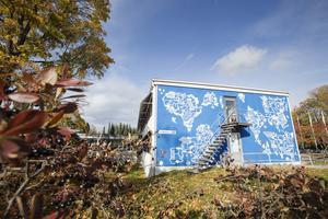 En surrealistisk världskarta i blått och vitt täcker nu väggen på Silvanum. Finska street art-artisten Egs ligger bakom målningen som kom till i början på september.