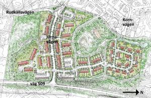 Området Bergtorp byggs i södra tätorten, längs väg 509. I ena änden blir det flerfamiljshus och förskola, i mitten radhus och ett skogsparti och i andra änden villor. Observera att norr är till höger på illustrationen. Bild: DPK / Sten Karlsson