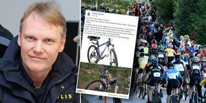 """Jonas Holfve vill varna Cykelvasans deltagare: """"Ta in cyklarna inomhus"""". Foto: Christer Klockarås, Nisse Schmidt, Facebook"""