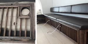 Problemen med ventilationen i slottets cafédel löstes genom att ventilationskanalerna byggdes in i en platsbyggd soffa. Foto: Mattias Pettersson, Harakers bygg
