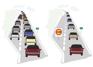E4 norr om Gävle väntas ha ett mycket hårt tryck i påsk. För att få bättre flyt i trafiken och undvika stopp  kommer omkörningsförbud att råda. Här är en illustration av ett avstängt körfält. Bild: Trafikverket