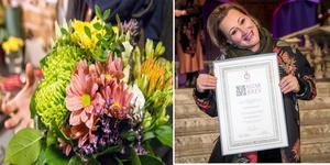"""Bellis blommor i Arboga har fått sin alldeles egna florist mästare. """"Som florist gillar jag att få blommor också. Jag älskar ju  blommor."""", säger Agnes Kocsi. Foto: Alexandra Edman och Jenny Thörnberg."""