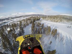 I början av februari flög Stephan vid Grövelsjön. Foto: Privat