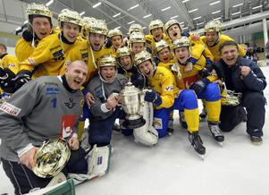 Januari 2009. Englund, som skymtar i bortre delen av bilden, vinner sitt första VM-guld. Mästerskapet spelades i Västerås.