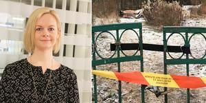 Den eldhärjade tomten vid Rumbagränd ska bli obebyggd tills vidare, enligt Nynäshamns mark- och exploateringschef Caroline Thunström. Foto: David Klasson, Kristina Laitinen