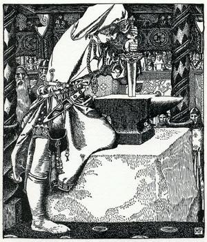 Artur drar svärdet Excalibur ur städet medan trollkarlen Merlin ser på. Illustration av Howard Pyle från 1903.