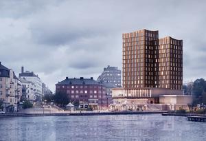 """Debattören skriver: """"Förslagets höghus är  till och med betydligt högre än Kringlanhuset. Orimligt"""". Skiss: Södertälje kommun"""