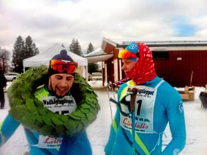 Jack Impola (till höger) tillsammans med tvillingbrorsan Bob efter som besegrade honom med en sekunds marginal i spurten av Wadköpingsloppet 2015, efter att de båda kommit loss från huvudklungan. Arkivfoto