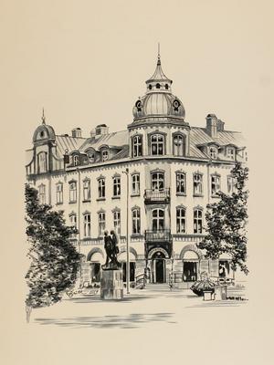 Konstnären Britt Liedman Johansson har gjort den här teckningen med tusch på papper. Det är ett av motiven i en kommande utställning på Ljungby bibliotek som startar den 28 oktober.