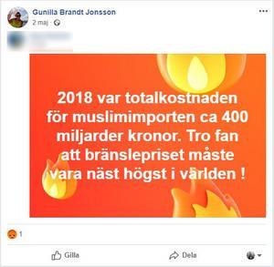 Bilden är en skärmdump från Gunilla Brand-Jonssons facebooksida.