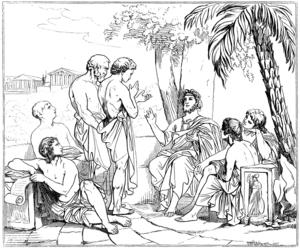 Platon undervisar i sin akademi. Illustration av Carl Wahlbom från 1879.