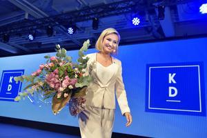 Partiledare Ebba Busch Thor på Kristdemokraternas valvaka på At Six i Stockholm. Foto: Jessica Gow / TT