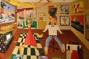 Hela konsthistorien, i förfalskad form, presenteras i Per Soneruds associationsrika, stora målning  Art von Schmucken. Pippi Långstrump får också plats i rummet.