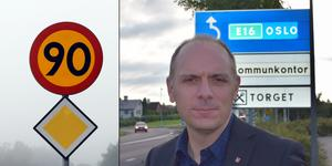 Gagnefs kommunalråd Fredrik Jarl (C) oroas över konsekvenserna av en generall hastighetssänkning på E16 genom kommunen. Han vill ha kvar 90 som högsta tillåtna hastighet.