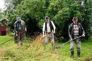 Slåttergänget. Sigurd Klasson, Åke Johansson och Bror Johansson är några av de få som kan konsten att slå gräs med en lie.