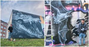 """Tomas Sundstrands bilder från """"Södra Sverige turné 2019"""" visar krokodil från Mölndal (vänster) och fladdermus från Karlstad (höger)."""