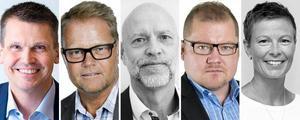 De fem toppchefer som deklarerade högst inkomst av tjänst under 2016: Per Bowallius, Anders Nilsson, Thomas Wilson, Anders Ingvarsson och Carin Andersson.