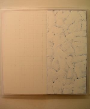 Kerstin Hedman har inspirerats av Siljans is och snö till detta verk.