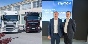 Henrik Henriksson, vd Scania, och Christian Levin, som tidigare var försäljningschef i Scania och nu är operativ chef för Traton, ska tillsammans spara drygt 7 miljarder kronor genom synergier.