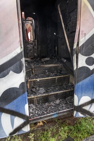En del av vagnen som brann.