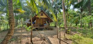 Carl-Johan Kihls bambuhus på hans kokosnötsfarm. Foto: Privat