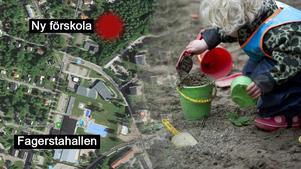 Den nya förskolan ska byggas bakom Risbrokyrkan.  Bilden är ett montage. Foto: Google maps/ Fredrik Sandberg/TT
