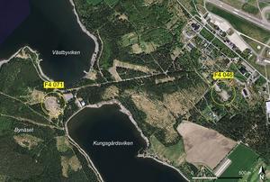 Provtagning av föroreningar har gjorts  på platser inringande med gult. Varierade halter av PFAS påträffades och en av platserna hade mycket höga halter i jord. Hur spridda föroreningarna är utreds nu vidare. Illustration ur miljöteknisk utredning